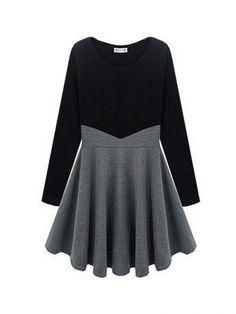 Individual Color Splicing Slim Long Sleeve Fashion Dress