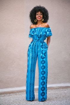 Frill Off Shoulder Jumpsuit ~African fashion, Ankara, kitenge, African women dresses, African prints, African men's fashion, Nigerian style, Ghanaian fashion ~DKK