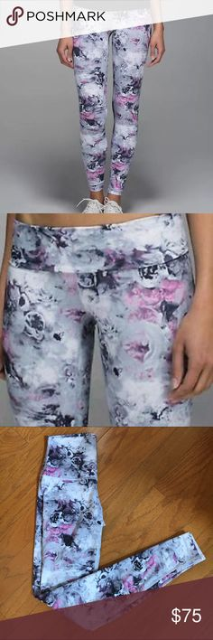 Lululemon Wunder Under Floral Activewear Legging Lululemon Wunder Under Pant. High Waisted Foldover Option. Gently used but in like new condition. Sz 4. Gray black white and pink floral print. lululemon athletica Pants Leggings