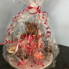 Valentine's Hamper going out this afternoon. Cookies, cupcakes a cute teddy and a Valentine's card #cakeshop #valentinesgifts #bespoke #hamper