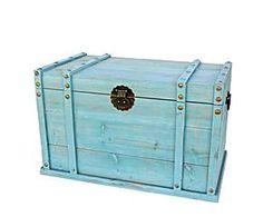Baúl de madera grande - azul