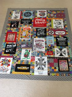 Fun customer t-shirt quilt T-shirt Quilts, Panel Quilts, Quilting Projects, Quilting Designs, Sewing Projects, Fabric Crafts, Sewing Crafts, Quilt Making, Quilt Patterns