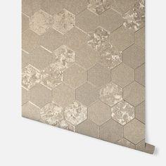 Foil Honeycomb Champagne – Arthouse Geometric Wallpaper Free, Honeycomb Wallpaper, Gold Wallpaper Bathroom, Vinyl Wallpaper, Champagne Living Room, Cream And Gold Wallpaper, Wallpaper Display, Design Repeats, Honeycomb Pattern