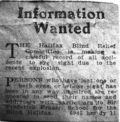 Halifax Relief Committee requests information from persons who sustained eye injuries in the explosion. Halifax Explosion, Nova Scotia, Names, Explosions, Eye, Canada