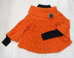 Crochet Girls, Crochet For Kids, Knit Crochet, Poncho Knitting Patterns, Knit Patterns, Knitted Baby Cardigan, Bolero, Knitting For Kids, Knit Fashion
