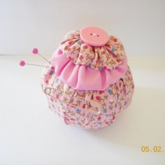 Handmade YO YO Pincushion. Pink Cotton Print by Happy2BCrafty