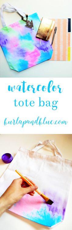 easy watercolor tote bag tutorial