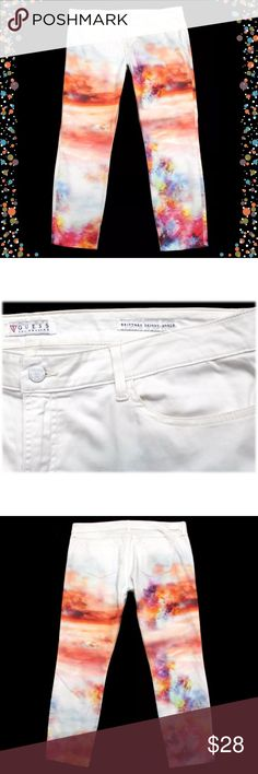 """Guess  Brittney Skinny Ankle Slim Fit Pants • Brand: Guess - Brittney Skinny Ankle   • Color: white with colorful print   • Size: 34 (as tagged)  • Measurements:  Waist: 38"""" (across aligned waistband, no dip-doubled) Rise: 10"""" (top of pants to crotch seam) Inseam: 28.50"""" (""""ankle length"""") (crotch seam to leg hem) Leg Opening: 6.75"""" (across bottom of leg opening)  • Material: 97% polyester / 3% elastane  • Condition: great, pre-owned condition with lightening to design from typical normal…"""