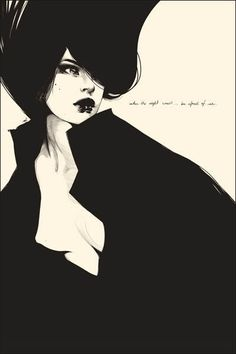 When the night comes art illustration print by manuel rebollo