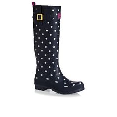 Joules Printed Welly Wellington Boots - Navy Spots | Free Delivery*