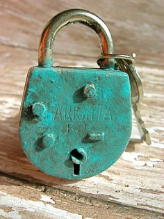 Set of 2 Antiqued Turquoise Drawer Lock by TheTurquoiseCottage, $11.95