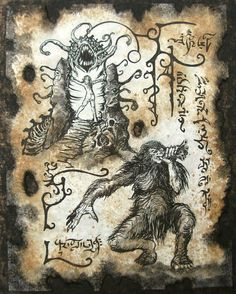 Valley of the WORM Cthulhu larp Necronomicon page Scroll Magick occult witch