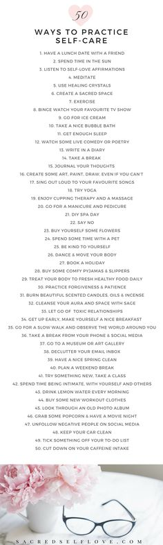 Relax, grab a cup of your favourite beverage and enjoy '50 ways to practice self-care Not got time? Pin Me for later New tips added weekly! ♡ ♡