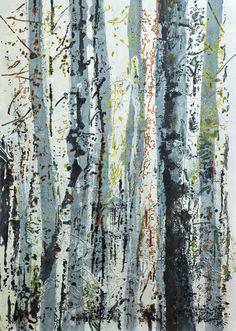 """Saatchi Art Artist: Ursula Blancke Dau; Acryl oil threads of canvas 2013 Painting """"Birches - Birken"""""""
