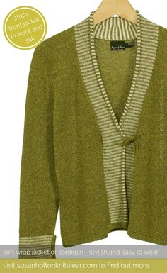Olive green soft jacket or cardigan in wool and silk for women who love beautiful colours and stylish unusual knitwear | Contemporary, cosy, easy to wear jumpers and jackets, cardigans and sweaters - beautiful contemporary women's knitwear | Knitted in wool and silk - you can wear year round - Spring, Summer, Autumn & Winter | Makes a beautiful unusual gift for Valentine's Day, Mother's Day, Birthday and Christmas | #knitwear #women's knitwear | www.susanholtonknitwear.com