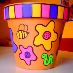 Image detail for -WHIMSICAL HAND PAINTED CLAY POTS