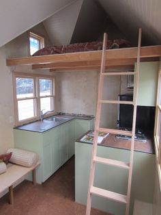 Kitchen from an actual tiny house on wheels.  Plenty of room here I think.  And counter space.