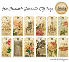 FREE Gorgeous Romantic Gift Tags for Weddings, Parties and More!