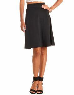 High-Waisted Full Midi Skirt: Charlotte Russe