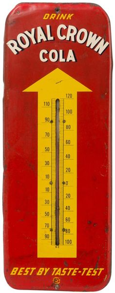 Royal Crown Advertisement Thermometer.Vintage Signs are a favorite among collectors and appreciators, as such pieces often feature unique graphics, historic letter forms and nostalgic commodities. While hand-lettered signage is as old a trade as any, our collection of Painted Signs also includes machine painted and screen-printed pieces.