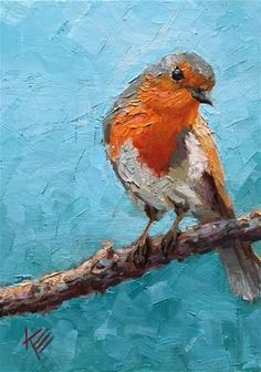 "Daily Paintworks - ""Mr. Robin"" - Original Fine Art for Sale - © Krista Eaton"