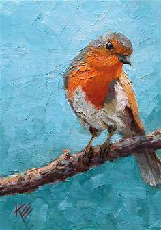 "Daily Paintworks - ""Mr. Robin"" - Original Fine Art for Sale - © Krista Eaton"