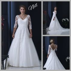A classic gown for an elegant Bride. The v neckline and back, the three quarter sleeves and the hand-beaded lace applique are timeless. Elegant Bride, Beaded Lace, Lace Applique, Formal Dresses, Wedding Dresses, Ball Gowns, Neckline, Skirts, Sleeves