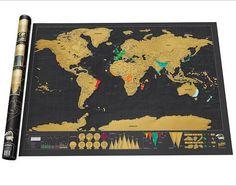 1 Unidades de Papelería Tienda de Mapas de Los Mundos Deluxe Negro rascar Mapa Mapa Mundial De La Pared Decoración de la Oficina 82.5x59.5 CM