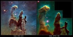 "comparison One of the most iconic images ever produced by NASA is the ""Pillars of Creation"" photograph taken by Hubble Space Telescope in 1995. The photo depicts tall columns (called elephant trunks) of interstellar dust and gas within the Eagle Nebula about 6,500 light years from Earth."