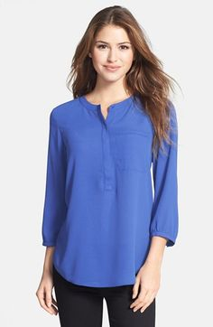 Free shipping and returns on NYDJ Henley Blouse (Regular & Petite) at Nordstrom.com. Designed for easy elegance, a simple banded neckline and hidden-button placket begin a blouse detailed with pintuck pleats releasing down the back and a breezy shirttail hem.