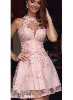 Cheap A-Line Halter Appliques Pink Tulle Short Homecoming Dress