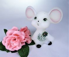 Signed By Artist Blue Satin Bunny Figurine Hand Painted Roses Fenton