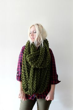 wondering if my mom could knit this? Huge Infinity Scarf Dark Green by LoveandKnit on Etsy, $75.00