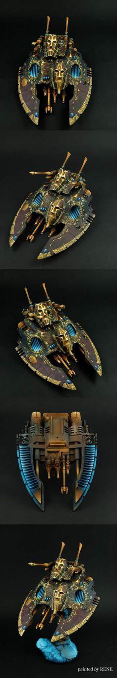 Eldar Falcon. Grim. Dark. Ancient. Look at those golden details on the fins.