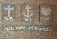 A personal favorite from my Etsy shop https://www.etsy.com/listing/266488620/faith-hope-love-string-art