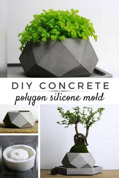 I love concrete flower pots. With this polygon silicone mold I can make some awesome diy geometric cement planters for my home. #ad #concrete #siliconemold #planter #flowerpot #cement #homedecor