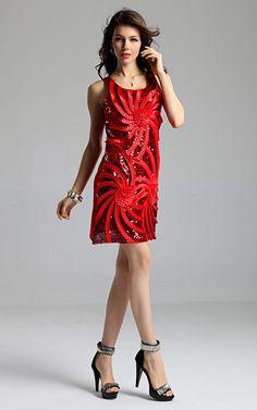 New Lady Women's Rotating Ribbon Embossed Sequins Vest Dress Jumper Skirt Dress