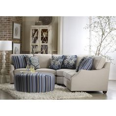 Sam Moore Rita Sectional with Ottoman  Small reclining sectional
