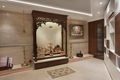 Best Ideas Wall Decoration For Living Room Furniture Arrangement Temple Room, Home Temple, Temple Design For Home, Design Your Home, Living Room Furniture Arrangement, Living Room Decor, Living Room Wall Units, Living Rooms, Room Interior