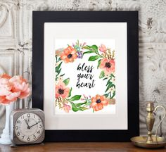 This floral Southern saying digital print is a great addition to any home or office! Check out the Gone South section for digital prints that will