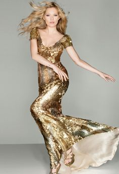 Kate Moss in Gold Gown