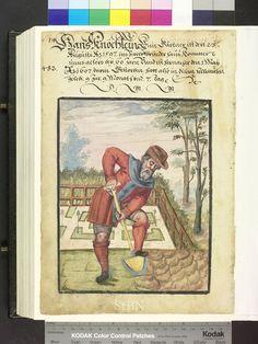 1607 gardener with a spade Die Hausbücher der Nürnberger Zwölfbrüderstiftungen