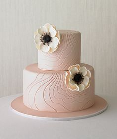 BEAUTIFUL. carving the wood grain into the fondant.. perfect! and the little flowers are so beautiful..