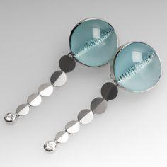 Munsteiner Aquamarine Earrings Platinum w/Spirit Sun Diamonds Aquamarine Stone Ring, Aquamarine Earrings, Dangle Earrings, Jewelry Rings, Fine Jewelry, Vintage Earrings, Beautiful Earrings, Jewelry Stores, Jewelry Design