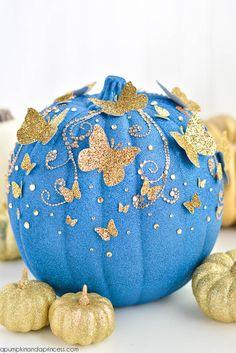 DIY Disney Movie Themed Charming Cinderella Butterfly Pumpkin!