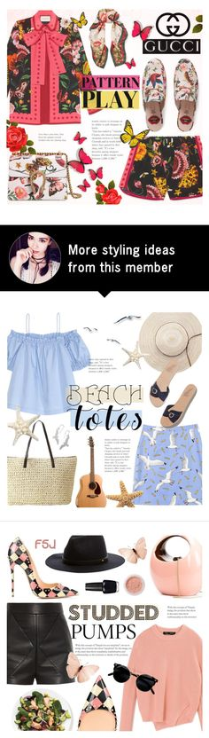 """""""Pattern Play with GUCCI"""" by alexandrazeres on Polyvore featuring Gucci, Flowers, butterflies, gucci, colourful and patternplay"""