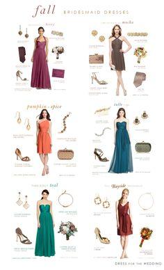 Bridesmaid Dresses for Fall Weddings via @dressforwedding