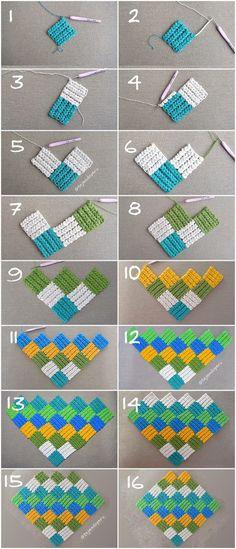 Punto entrelac con trenzas gorditas o trenzado tejido a crochet. Paso a paso para tejerlo en cuadrado y rectángulo.