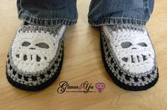The Glamour Skull Slipper Shoes - Men Sizes are super soft & comfy, with a double sole. The Toe (where the Skull's Teeth are) are open to allow your feet to breath. The color combinations are endless!!   http://www.maggiescrochet.com/products/glamour-skull-slipper-shoes-mens-sizes-crochet-pattern-download