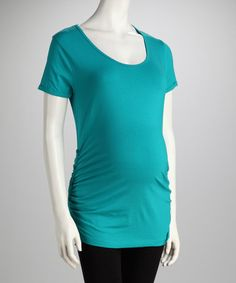 Take a look at this Oh! Mamma Sea Teal Button Ruched Maternity Tee by Oh! Mamma on #zulily today!